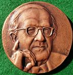 Philip Grierson (numismatist), 80th Birthday 1990, bronze medal by Avril Vaughan