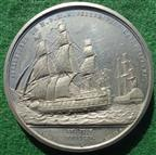 Napoleon's Surrender to Captain Maitland 1815, white metal medal