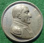 Lord Exmouth & Suppression of Barbary Slave Trade, Algiers Bombarded 1816, white metal medal