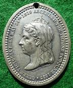 Victoria, Golden Jubilee 1887, white metal medal by Pinches