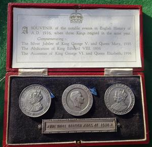 Edward VIII to George VI, the Three British Kings of 1936, issued as a set in 1937, cased set of three matt silver medals